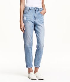 5-pocket jeans in washed stretch denim with a high waist, gently tapered legs, and heavily distressed details. | H&M Denim