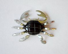 Brooch Bakelite Black Crab Silver Metal by LaMeowVintage Jewelry Box, Vintage Jewelry, Jewellery, Nautical Jewelry, Novelty Items, 1940s, Costume Jewelry, Eye Candy, Crabs