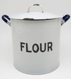 shopgoodwill.com: Vintage Enamel Cast Iron Covered Stock FLOUR Pot