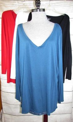 cabbd321c77f0 Lane Bryant Top Lot V-neck Long Sleeve Shirt Tunic Red White Blue Black