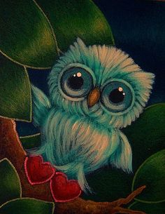 Art: NEW TINY OWL WITH RED VALENTINE HEARTS SLIPPERS by Artist Cyra R. Cancel