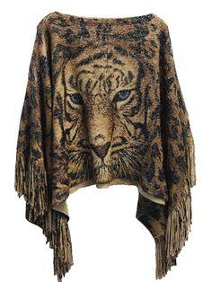Casual Loose Fringe Leopard Tiger Printed Women Cape Shawl