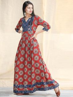 Indigo Red - Hand Block Printed Cotton Long Dress With Pockets - D339F1825 4764c4889