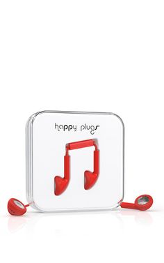 **Happy Plugs** earbuds are a must-have everyday accessory boasting style and function. A vibrant choice in red, this pair are compatible with all smartphones and tablets and come equipped with a microphone and built-in remote.