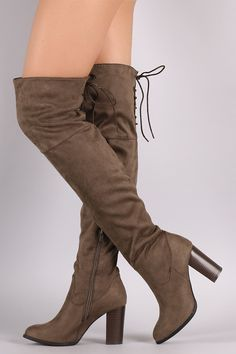 Qupid Suede Back Lace-Up Chunky Heeled Over-The-Knee Boots