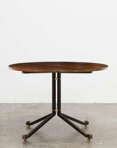 Ico Parisi; Wood, Enameled Steel and Brass Dinette