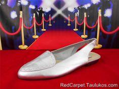 "Womens shoes vtg 80s CALICO ""Rerun"" moc toe Slingback Flats Silver"