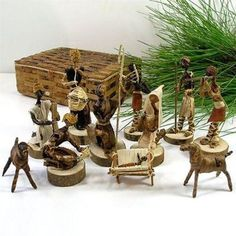 Banana Fiber Nativity Set - Kenya (Other Holiday Collectibles). This Nativity set is handcrafted out of banana fiber and comes in a 5 by 7 inch handmade banana fiber box Christmas Store, Christmas Nativity, Christmas Crafts For Kids, Christmas Decorations, Black Nativity, Christmas Program, Christmas Ornaments, Christmas Holiday, Christmas Trees