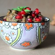 Very tasty Persian salad with green olives, walnuts and pomegranate.