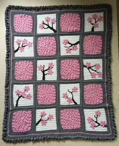 How to Make a Cherry Blossom Crochet Blanket | ✁ CK Crafts