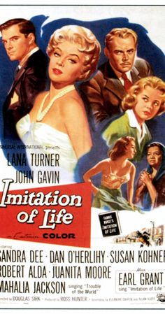 Directed by Douglas Sirk.  With Lana Turner, John Gavin, Sandra Dee, Susan Kohner. A struggling young actress with a six-year-old daughter sets up housekeeping with a homeless black widow and her light-skinned eight-year-old daughter who rejects her mother by trying to pass for white.