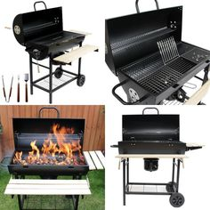 Large Charcoal Barrel Bbq With Mini Smoker Accessories Outdoor Garden Cooking