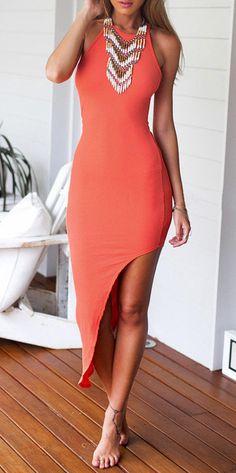 Orange Asymmetrical Bodycon Dress