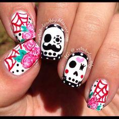 50 best black and white nail designs skull nail designs sugar cinco de mayo nail art sugar skulls sugar skulls nail art prinsesfo Image collections