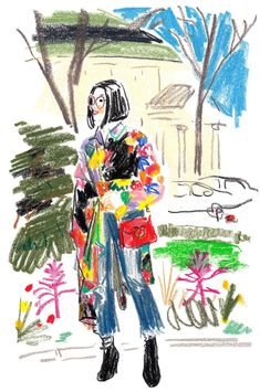 The illustrator Damien Florébert Cuypers draws the people — and looks — at the fall/winter 2017 collections in Paris. : The illustrator Damien Florébert Cuypers draws the people — and looks — at the fall/winter 2017 collections in Paris. Fashion Illustration Sketches, Illustration Mode, Fashion Sketches, Art Sketches, Fashion Drawings, Oil Pastel Art, Punk Art, Art Plastique, Looks Cool