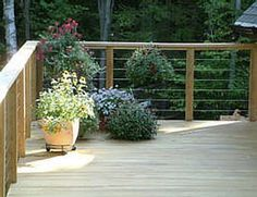 Cable Deck Railing | 10' x 40' cable-rail deck in cedar Cable railing view