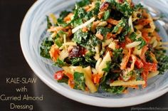 Healthy Vegan Thanksgiving Recipes: From Brunch to Dinner to Dessert - Kale Slaw with Curried Almond Dressing Raw Food Recipes, Salad Recipes, Vegetarian Recipes, Cooking Recipes, Healthy Recipes, Healthy Salads, Healthy Eating, Healthy Food, Kale Slaw