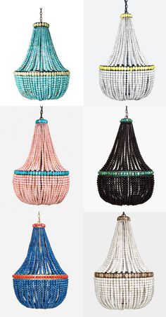 chandeliers...pick a color - any color!