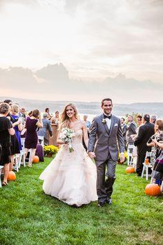 Pumpkin-lined aisle | Fall Wedding at Dutchess Manor from Caitlinn Mahar-Daniels  Read more - http://www.stylemepretty.com/new-york-weddings/2013/11/01/fall-wedding-at-dutchess-manor-from-caitlinn-mahar-daniels/