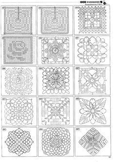 Cuadrillas de todo tipo y formato geométrico listo para trabajar en crochet ,con cada uno de ellos puedes hacer cientos de temas y proyecta...