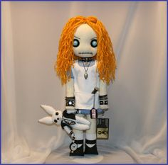 OOAK Alice in Wonderland Inspired Hand Stitched Rag Doll Creepy Gothic Outsider Art by Jodi Cain