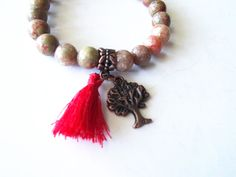 *SOLD* Tree of Life Charm Bracelet with Jasper Beads, Red Cotton Tassel, Copper Tree of Life, Natural Jewelry, Gifts for Her by TerriJeansAdornments on Etsy