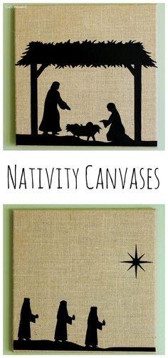 DIY Nativity Scene Burlap Canvas Art With Printables