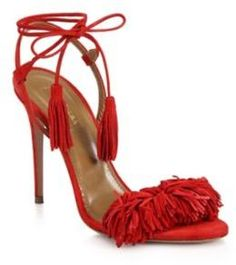"""Alluring fringed suede sandal with tassel ankle tiesSelf-covered heel, 4.13"""" (105mm)Suede upperOpen toeSlingback strap with ankle tiesLeather lining and solePadded insoleMade in Italy"""