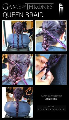 It's time for another #hair tutorial! Senior Designer Jen shows you how to get a Game of Thrones-inspired braid fit for a queen (or khaleesi!) in just a few easy steps.  1. Separate hair into three sections. French braid each section. 2. Cross the side braids over the center braid and secure with a bobby pin. 3. Thread the side braids through pieces of the center braid near the nape of the neck. 4. Braid the side pieces into the center braid.