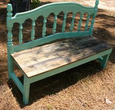 Headboard bench in Jade and natural wood – Furniture Makeover Diy Furniture Projects, Refurbished Furniture, Design Furniture, Woodworking Furniture, Repurposed Furniture, Furniture Makeover, Wood Projects, Handmade Furniture, Bed Frame Bench