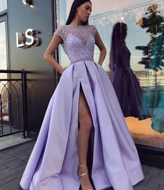 Jewel Illusion Lilac Short Sleeves Side Slit Evening Prom Dresses, Cheap Sweet 16 Dresses, 18311 - New Sites Long Prom Dresses Uk, Lavender Prom Dresses, Winter Formal Dresses, Prom Dresses With Pockets, Light Purple Prom Dress, Dress Winter, Dress Long, Mauve Prom Dress, Dress Formal