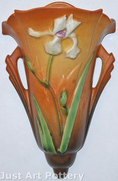 Roseville Pottery Iris Tan Wall Pocket 1284-8 from Just Art Pottery