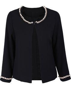 ELEGANT CARDI   Black Long Sleeve Chain Bead Embellished Outerwear - Sheinside.com