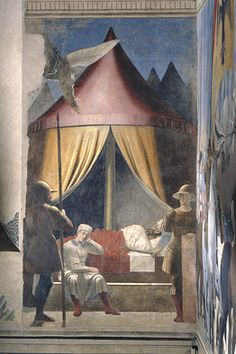 "Piero della Francesca - fresco detail of 'The Legend of the True Cross' titled ""Dream of Constantine"""