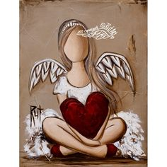 Afbeeldingsresultaat v oor rut art Angel Images, Angel Pictures, Creation Art, I Believe In Angels, Angel Art, Heart Art, Whimsical Art, Pictures To Paint, Rock Art
