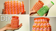 This design uses a two bar loom with adjustable peg positions.  *Zuzu* DIY Cozy Cover For Cups, Jars and Bottles Out Of Rainbow Loom Bands - Ea...