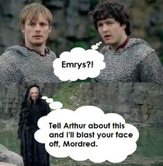 """Haha. I kept waiting for him to tell Merlin """"Nice dress"""" or something similar at the end. Disappointed that he didn't."""