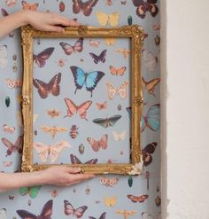 A pretty wallpaper with delicately coloured butterflies and insects on a blue background. An original wallpaper created by Ella Doran. Butterfly Bedroom, Butterfly Wallpaper, Cherry Blossom Art, Animal Magic, Home Wallpaper, Wallpaper Samples, Insect Art, Vintage Butterfly, Big Girl Rooms