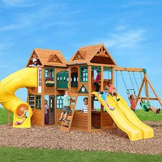 We just added this playground to our yard, but I'd like to build a more detailed kitchen and play house to enhance the play space. Backyard Playground, Backyard For Kids, Backyard Ideas, Playground For Kids, Playground Swing Set, Kids Swing, Playground Design, Garden Ideas, Cedar Lumber
