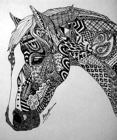 Array Animal Pattern Coloring Pages Awesome Zentangle Horse by Evaclifton On Deviantart. Mandala Art, Mandalas Drawing, Zentangle Drawings, Zentangle Patterns, Art Drawings, Zentangles, Zentangle Animal, Easy Zentangle, Drawing Art