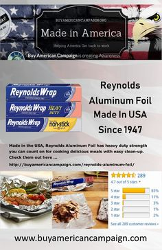 Made in the USA, Reynolds Aluminum Foil has heavy duty strength you can count on for cooking delicious meals with easy clean-up. Check them out here . Delicious Meals, Yummy Food, American Manufacturing, Get Back To Work, Create Awareness, Made In America, Count, Strength