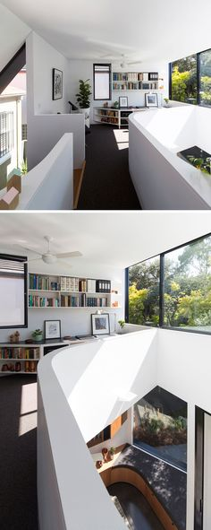 This home has a small reading area and plenty of natural light from the large window.