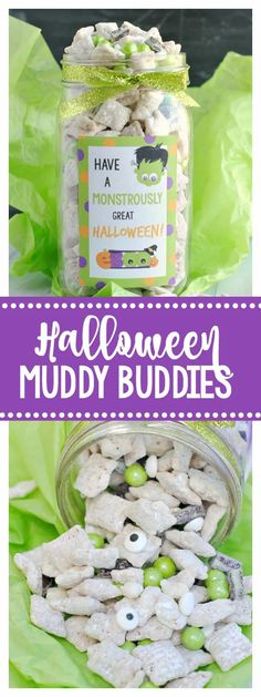 Cute Halloween Gift-Muddy Buddies and Fun Tag. These muddy buddies are so fun and delicious. They make a perfect gift idea! #halloween #giftidea #muddybuddies Halloween Goodies, Halloween Desserts, Holidays Halloween, Spooky Halloween, Halloween Treats, Halloween Party, Fun Desserts, Diy Halloween Gifts, Halloween Costumes