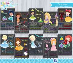 Princesses Invitations watercolor / Princess Invitation Belle