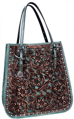 Brown Floral Tooled Doctor's Bag - DB12