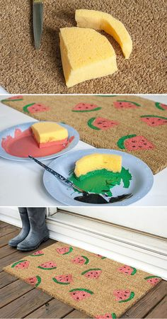 Custom rugs and mats - 19 easy to make models Summer Crafts, Fun Crafts, Diy And Crafts, Crafts For Kids, Arts And Crafts, Diy Tapis, Furoshiki, Watermelon Birthday, Watermelon Crafts