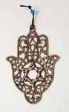 LUCKY HAMSA Gold Tone Wall Hanging Jewish Star of David Israel Kabbalah  Judaica Hamsa Design, 80917536f0