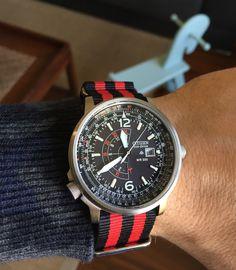 Citizen Ecodrive Promaster & red-black NATO stripe