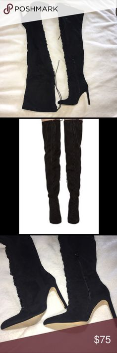 """Chelsea & Zoe thigh high boots 7 BNIB ultra thigh high lace up boots.  Size 7.5 black faux suede material. Heel is 4.5"""". Runs small. I'm usually a size 6.5-7. I am 5'3"""" and i was 125 lbs when the whole thing fit and I thought I had thunder thighs then. These are awesome and don't slip down your leg like other boots. 29"""" from heel to top. Opening at thigh circumference is 10"""" flat. Comes about mid-thigh like thigh high stockings. Black zippers on the inside of boot. They are super sexy with a…"""