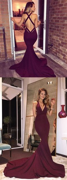 2017 Deep V neck Grace Prom Dresses, Burgundy Sweep Train Prom Dresses ASD2653,seep v neck sexy prom dresses